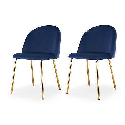 Meelano Upholstered Dining Chair Set of 2: Navy Blue - eBay