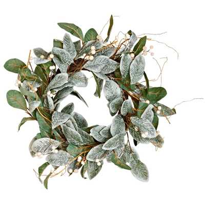 Worth Imports 22 in. Magnolia Leaves Wreath with White Berries - Home Depot