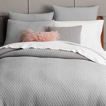 Ripple Texture Duvet Cover, King, Platinum - West Elm