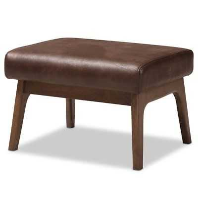 Baxton Studio Bianca Faux Leather Ottoman in Brown and Walnut Brown - eBay
