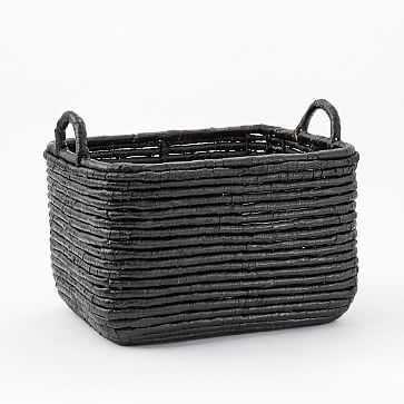 Woven Seagrass Baskets, Black, Medium Rectangle - West Elm