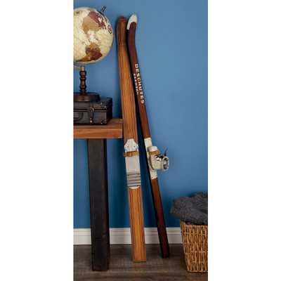 55 in. Decorative Pine Wood and Iron Ski Boot Sculpture in Stained Brown - Home Depot
