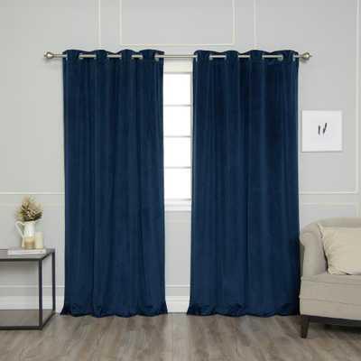 Best Home Fashion Navy (Blue) 96 in. L Room Darkening Luster Velvet Grommet Curtain Panel - Home Depot