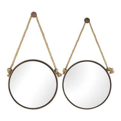 2 Piece 24 in. Round Iron On Rope Framed Mirror Set - Home Depot