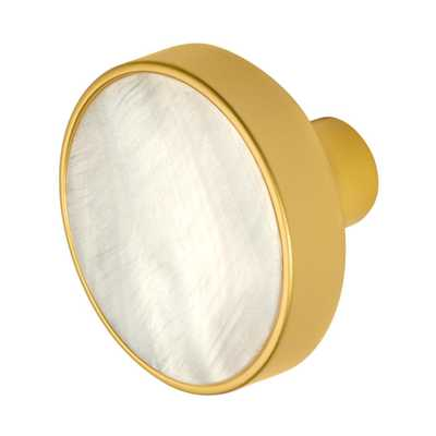 Pearl 1-3/8 in. Satin Gold Cabinet Knob - Home Depot