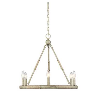 Filament Design 6-Light Natural Wood and Rope Chandelier - Home Depot
