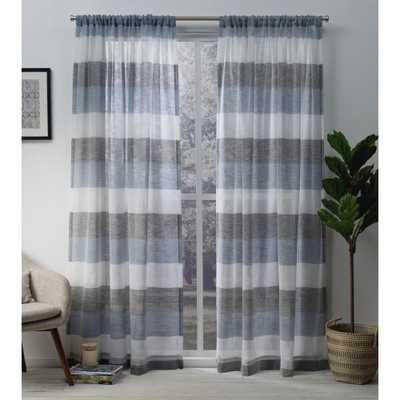 Amalgamated Textiles Bern Indigo (Blue) Stripe Sheer Rod Pocket Top Window Curtain - Home Depot