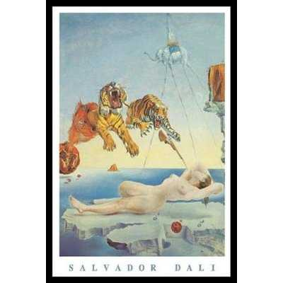 'Dream Caused by the Flight of a Bee a Second Before Awakening' by Salvador Dali 36x24 Framed Art Graphic Art Print - Wayfair