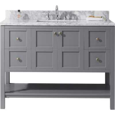 Virtu USA Winterfell 48 in. W x 22 in. D Vanity in Grey with Marble Vanity Top in White with White Basin - Home Depot