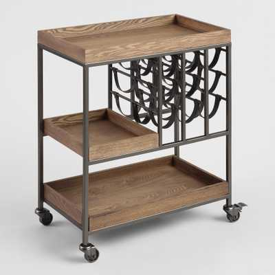 Wood and Leather Strap Bar Cart with Wine Storage by World Market - World Market/Cost Plus