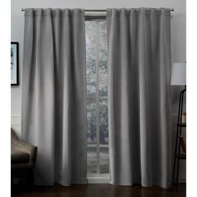 Exclusive Home Curtains Sateen Veridian Gray Woven Blackout Hidden Tab Top Curtain - 52 in. W x 96 in. L - Home Depot