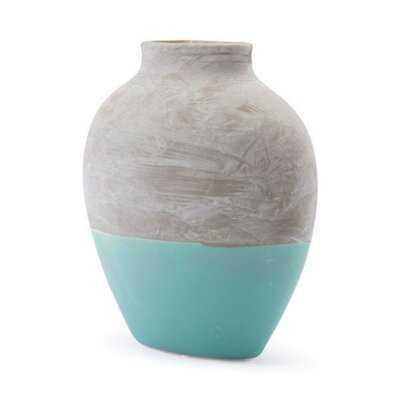 Eggleston Large Vase Gray & Teal Ceramic - Wayfair