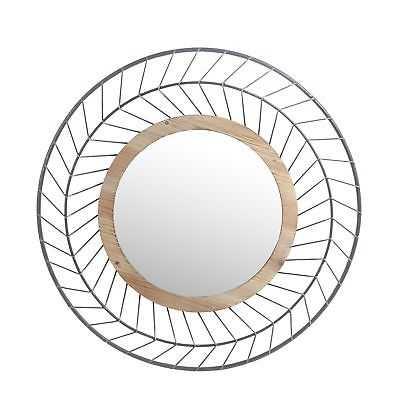Round Mirror - Iron & Wood - eBay