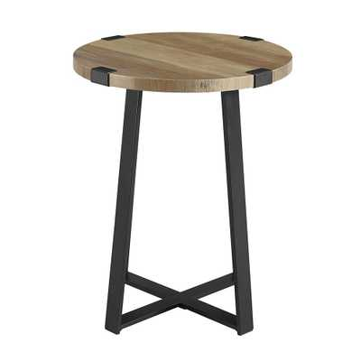 18 in. Rustic Oak Rustic Urban Industrial Wood and Metal Wrap Round Accent Side Table - Home Depot