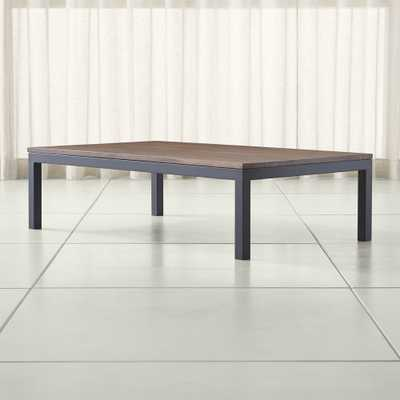 Parsons Walnut Top/ Dark Steel Base 60x36 Large Rectangular Coffee Table - Crate and Barrel