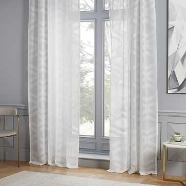 "Sheer Clipped Geo Jacquard Curtain, Stone White, 48""x96"" - West Elm"