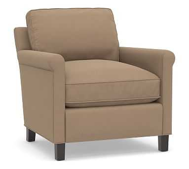 Tyler Roll Arm Upholstered Armchair without Nailheads, Down Blend Wrapped Cushions, Performance Plush Velvet Camel - Pottery Barn