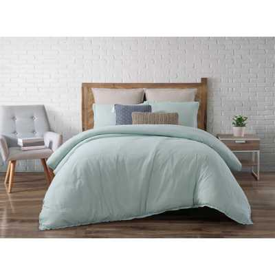 Chambray Loft Aqua (Blue) Full/Queen Comforter with 2-Shams - Home Depot