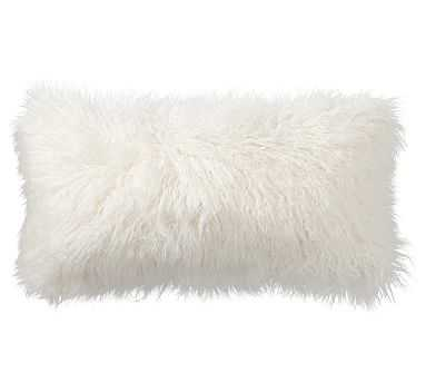 "Mongolian Faux Fur Lumbar Pillow Cover, 18""x18"", Ivory - Pottery Barn"