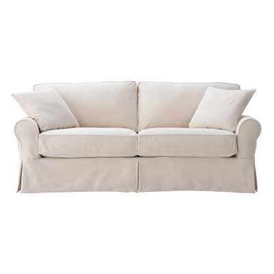 Mayfair 88 in. Classic Natural Twill Fabric Standard Sofa - Home Depot