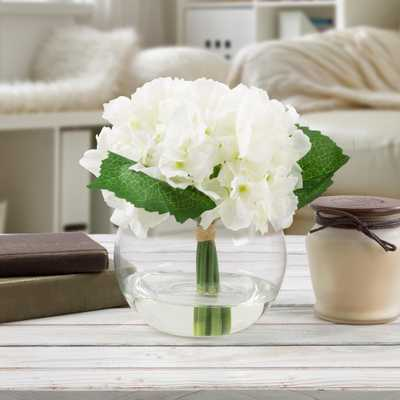 7.5 in. Hydrangea Artificial Floral White Arrangement, Whites - Home Depot