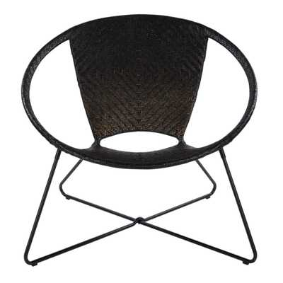 Navarre Black Lounge Chair in Black Fade withFrame, Black/Rattan - Home Depot