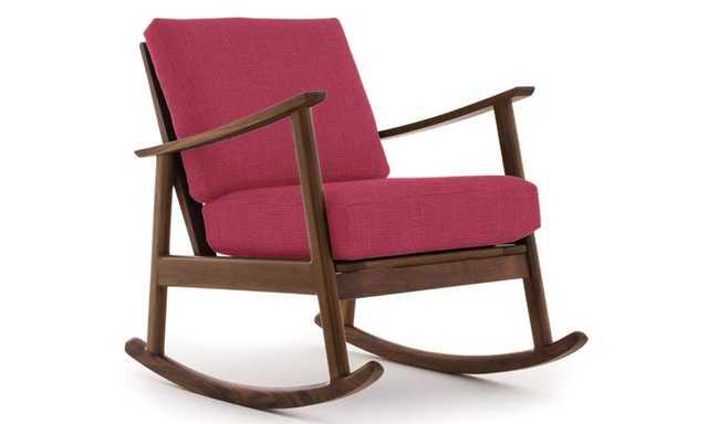 Pink Paley Mid Century Modern Rocking Chair - Key Largo Bubblegum - Walnut - Joybird