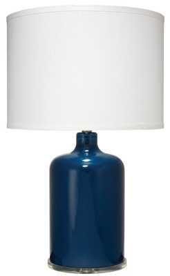 Napa Table Lamp in Navy Glass with Classic Drum Shade in White Linen - Jamie Young
