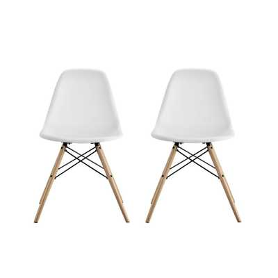 Moorea White Mid Century Modern Molded Chair with Wood Leg (Set of 2) - Home Depot