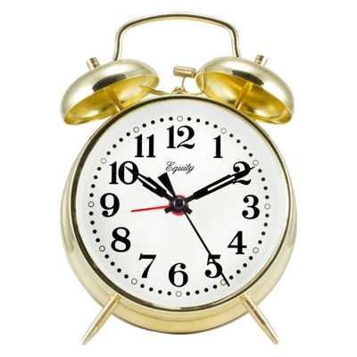 Analog 4.5 in. Round Gold Metal Twin Bell Keywind Alarm Clock, Metallics - Home Depot
