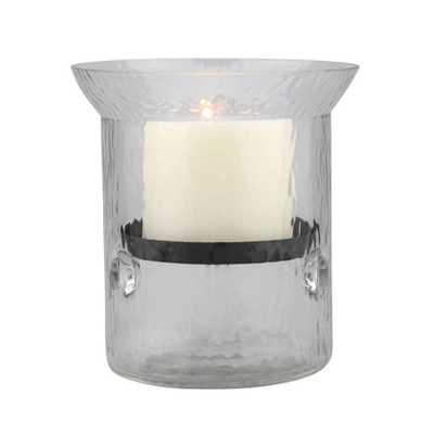 6 in. H Glass Hammered Hurricane Candle Holder with Gunmetal Tray, Clear - Home Depot