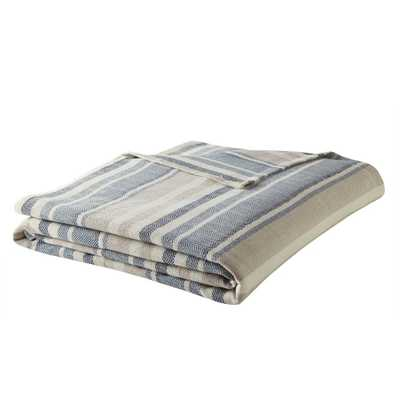 Eb Blue 100% Cotton Full/Queen Blanket - Home Depot