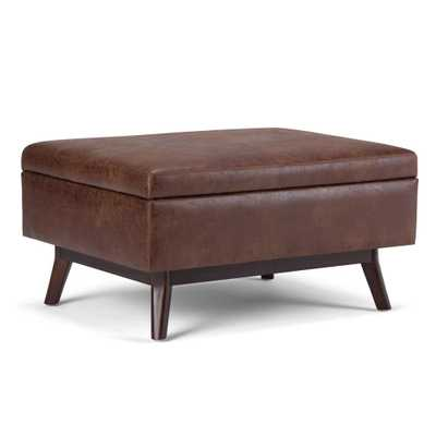 Owen Distressed Saddle Brown Air Leather Storage Ottoman, brown - Home Depot