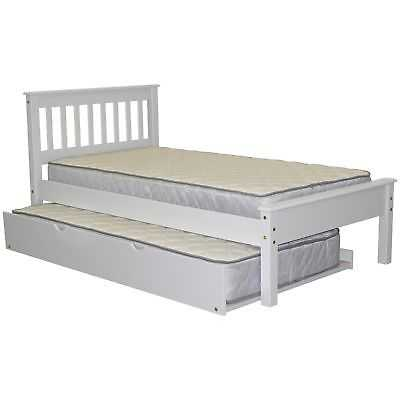 Bedz King White Wood Mission Style Twin-size Bed with Twin Trundle - eBay