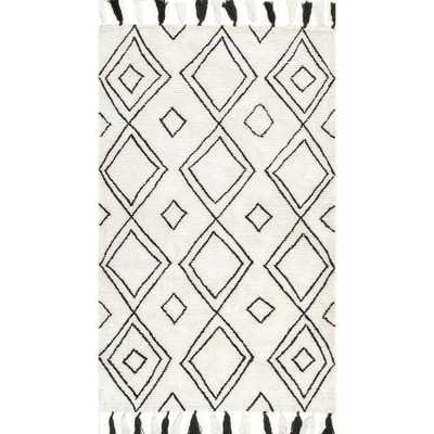 nuLOOM Lisha Moroccan Diamond Tassel Ivory 7 ft. 6 in. x 9 ft. 6 in. Area Rug - Home Depot