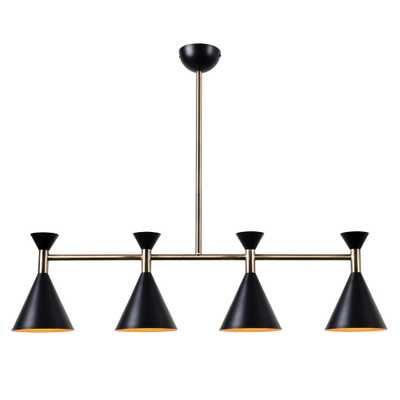 Kenroy Home Arne 4-Light Matte Black with Antique Brass Island Pendant - Home Depot