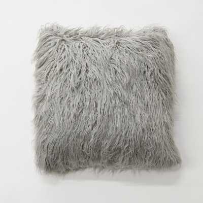 Grey Faux Mongolian Lamb Fur Pillow, Grays - Home Depot