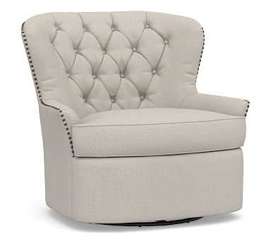 Cardiff Upholstered Tufted Swivel Armchair, Polyester Wrapped Cushions,, Performance Heathered Tweed Pebble - Pottery Barn
