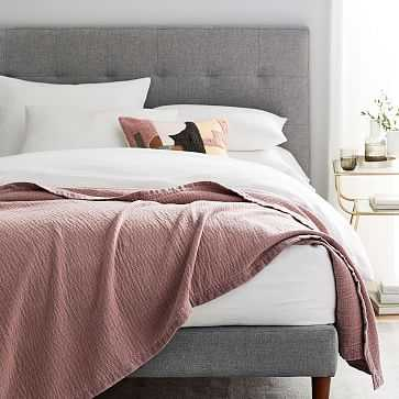Velvet Trim Textural Blanket, Full/Queen, Pink Stone - West Elm