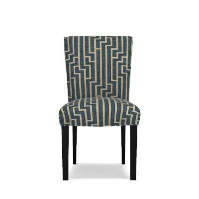 Fitzgerald Dining Side Chair, Ebony, Ritzy, Solid, Blue Opal - Williams Sonoma