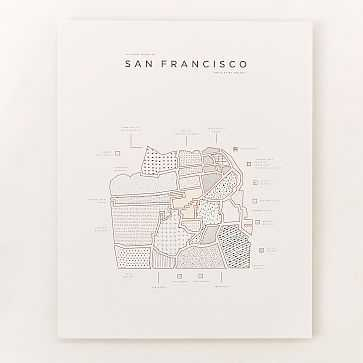 "42 Pressed City Road Maps, San Francisco, 16""x20"" - West Elm"