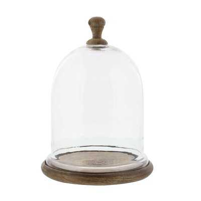 Parish Farmhouse Dome Shaped Wood and Glass Cloche - Wayfair