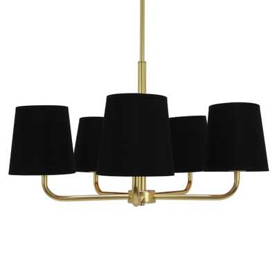 Decor Therapy Evelyn 5-Light Black and Gold Chandelier with Linen Shade - Home Depot