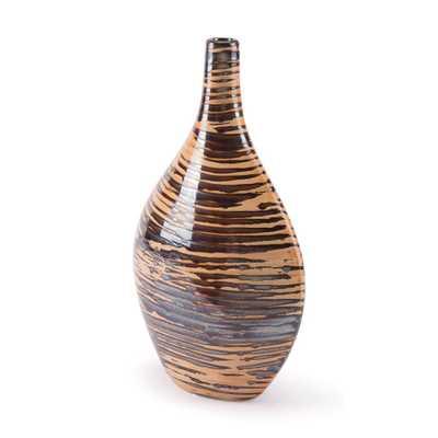 ZUO Gunmetal and Orange Oxi Short Decorative Vase, Gunmetal & Orange - Home Depot