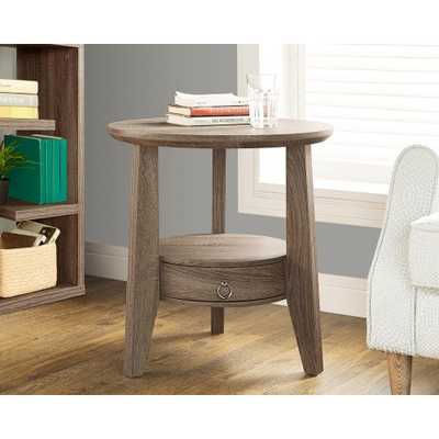 Dark taupe Storage End Table - Home Depot