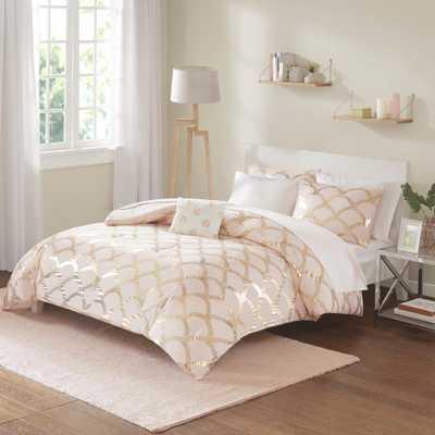 Kaylee 8-Piece Blush Full Geometric Comforter Set - Home Depot