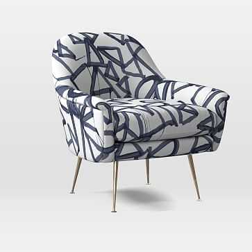 Phoebe Midcentury Chair, Poly, Lively Lines, Midnight, Brass - West Elm