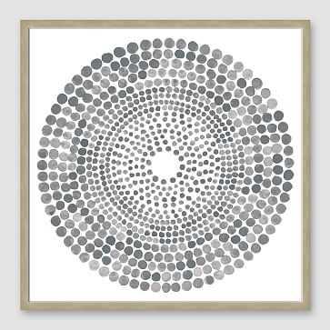 "Framed Print, Gray WaterColor Burst II, Silver Frame, 20"" X 20"" - West Elm"