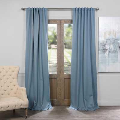 Exclusive Fabrics & Furnishings Semi-Opaque Poseidon Blue Blackout Curtain - 50 in. W x 84 in. L (Panel) - Home Depot