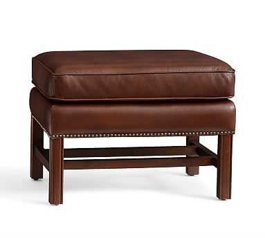 Thatcher Leather Ottoman, Polyester Wrapped Cushions, Cognac - Pottery Barn